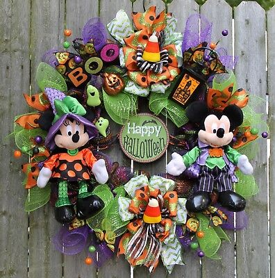 SALE~MICKEY & MINNIE MOUSE~HAPPY HALLOWEEN~BOO~LANTERN~GHOST~CANDY CORN~ WREATH