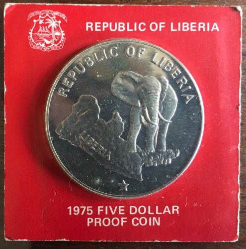 1975 REPUBLIC OF LIBERIA $5 DOLLAR PROOF SILVER COIN