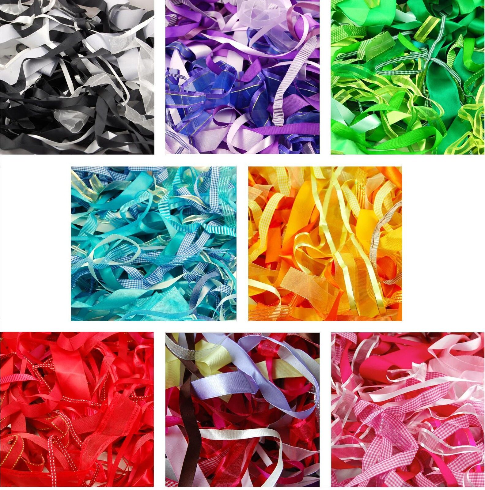 50 x 1 metre of Assorted Narrow Satin Ribbon Off Cuts Bundle 3mm to 10mm wide