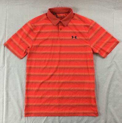 Under Armour Men's Golf Polo Heat Gear Orange Stripes 1298947 DUSTY Size M