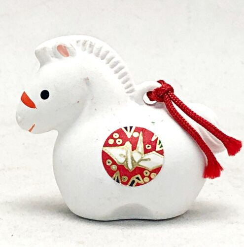 Japanese White Clay Bell Dorei Zodiac Horse Pottery Ceramic Lucky Charm Fortune