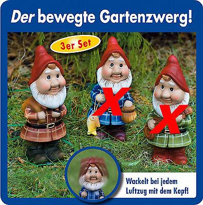 Wackelzwerge Gartenzwerge 3er Set Zwerge Gartendeko Figur  Zwerg Gartenzwerg NEU