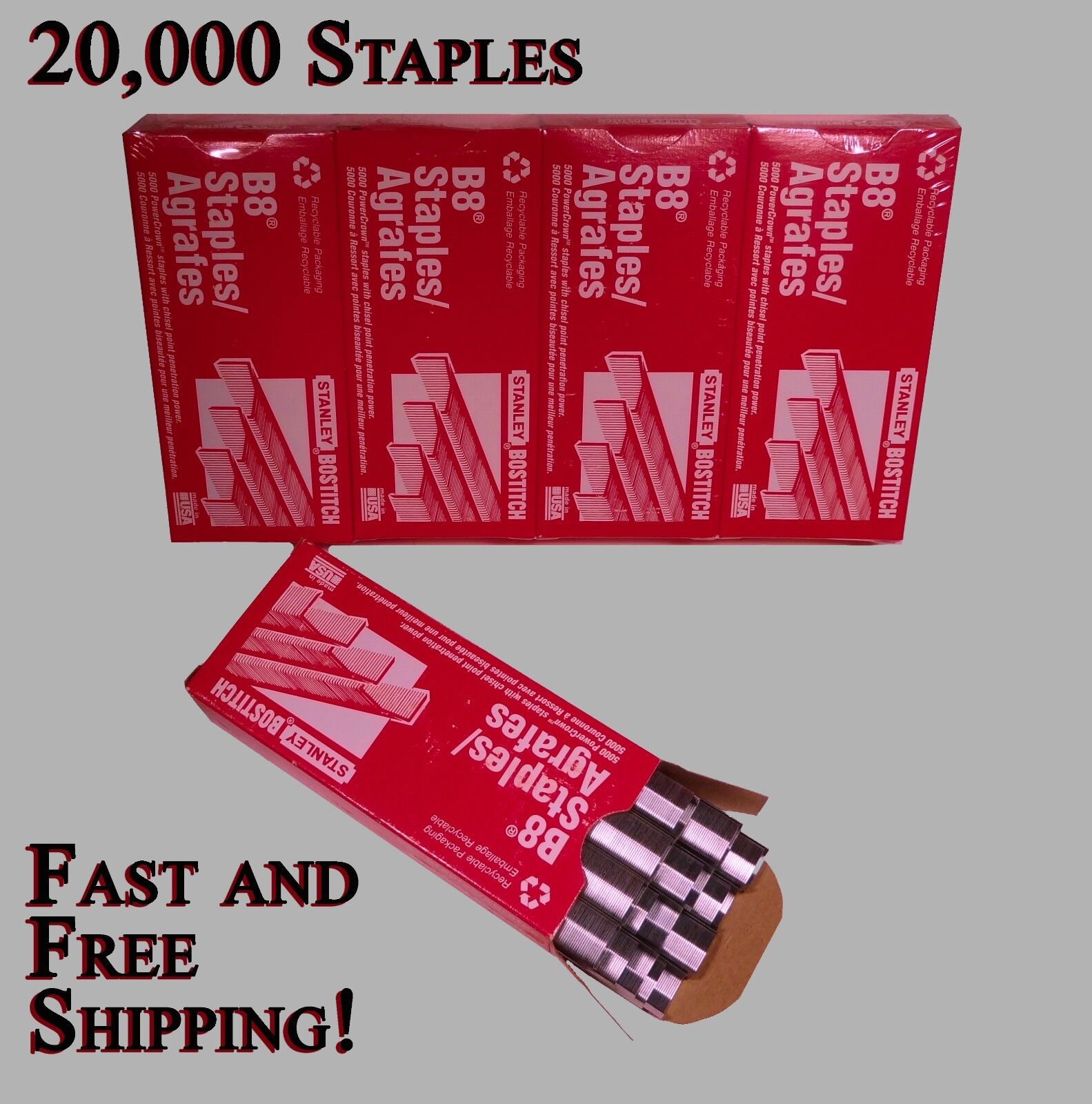 Stanley Bostitch Genuine Staples 1/4 B8 20,000