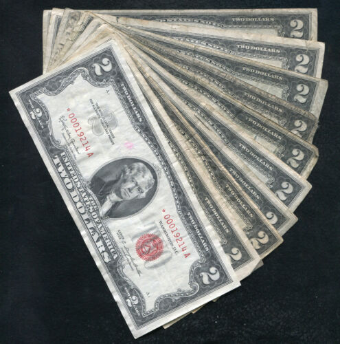 (10) 1953/1963 $2 *STAR* RED SEAL LEGAL TENDER UNITED STATES NOTES