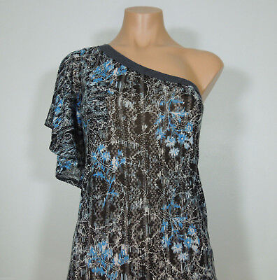 One-shoulder Kimono Top (FREE PEOPLE One Shoulder Printed Top with Kimono Sleeve size S)