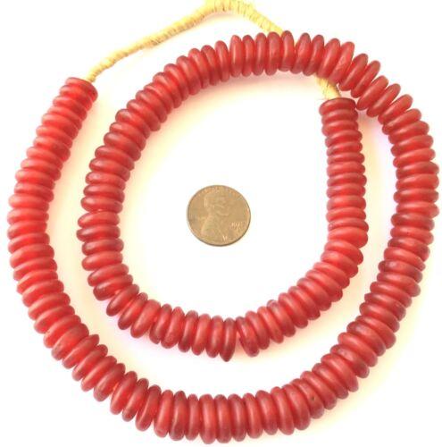 Handmade Red Ghana disk Krobo Recycled Glass African trade beads-Ghana