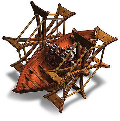 NEU  Leonardo da Vinci Paddel Boot Modell Schaufelradboot Bausatz