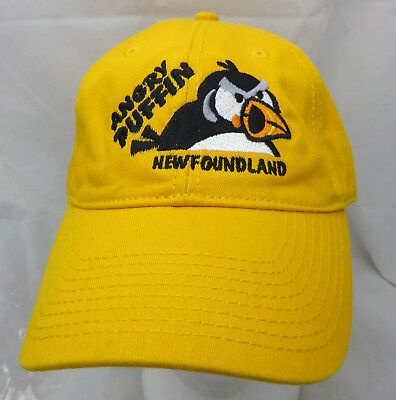 Angry Puffin Newfoundland  baseball cap hat adjustable strapback yellow