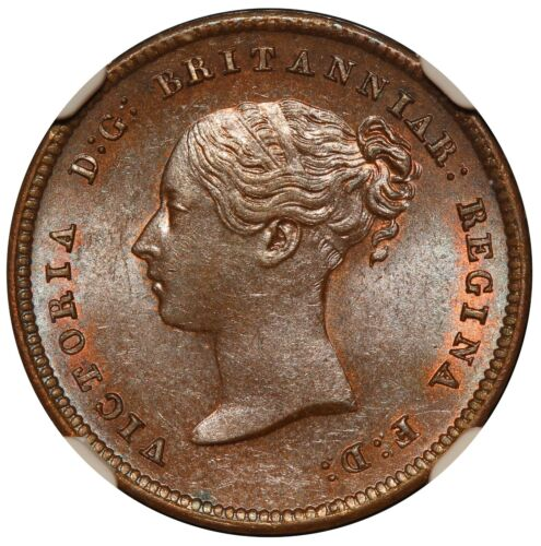 1843 Great Britain Half 1/2 Farthing Copper Coin - NGC MS 64 BN - KM# 738