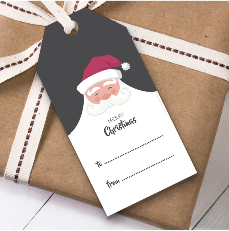 Santa To From Christmas Gift Tags (Present Favor Labels)
