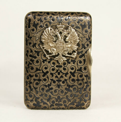 Antique Russian Imperial 84 Silver Niello Enamel Cigarette Case with Eagle