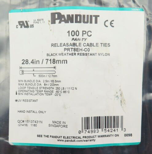 "100 pc Reusable Panduit 250 lb 28"" Heavy Duty UV Resistant Nylon Cable Zip Ties"