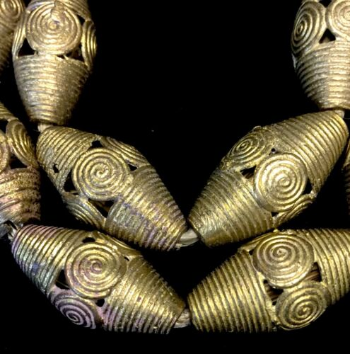 """Strand of 19 African Ashanti Lost Wax Brass Beads from Ghana 26"""""""