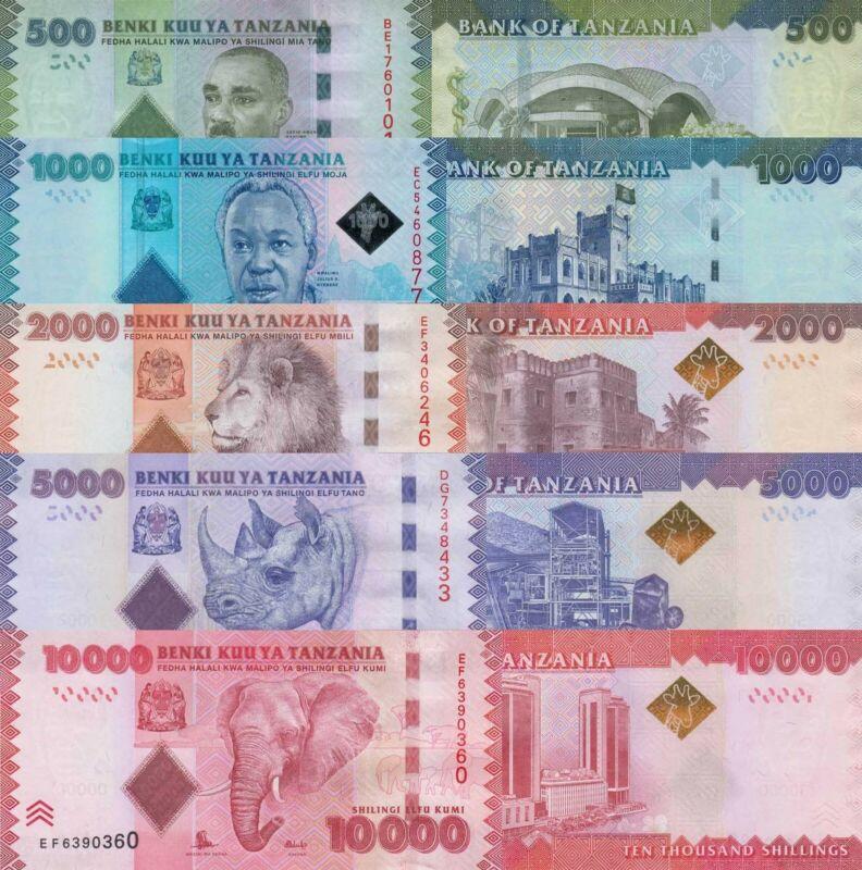 Tanzania 5 Note Set: 500-10000 Shillings (2010/15) - p40, p41b to 44b UNC