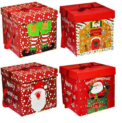 Christmas Present Box (Large Premium Christmas Eve Gift Box, Lid & Ribbon Handles Xmas Present)
