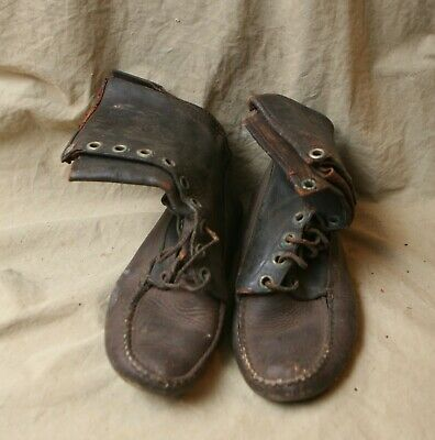 Antique Thick Leather Pr. Moccasin Boots Western Americana Tracker Style 10 Eye