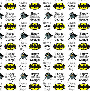 Birthday Gift Wrapping Paper BATMAN Personalised Any Name