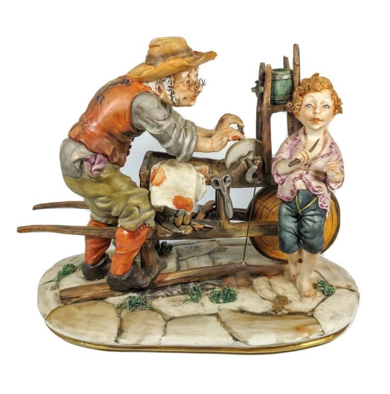 Vintage Milio Porcelain Capodimonte Figurine Statue Man Sharpening Knife Rare