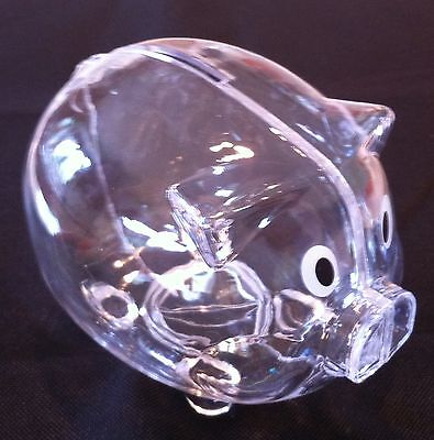 NEW Clear PIGGY Bank Coin Money Plastic Still Savings Toy Cash Safe Box