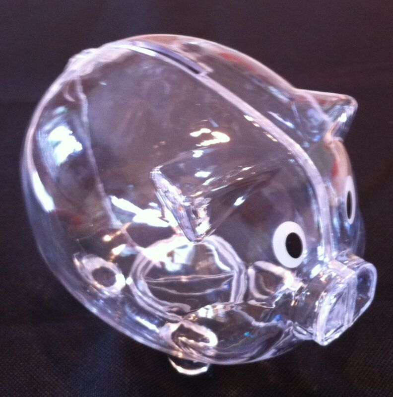 NEW Clear PIGGY Bank Coin Money Plastic Still Savings Toy Cash Safe Learning Box