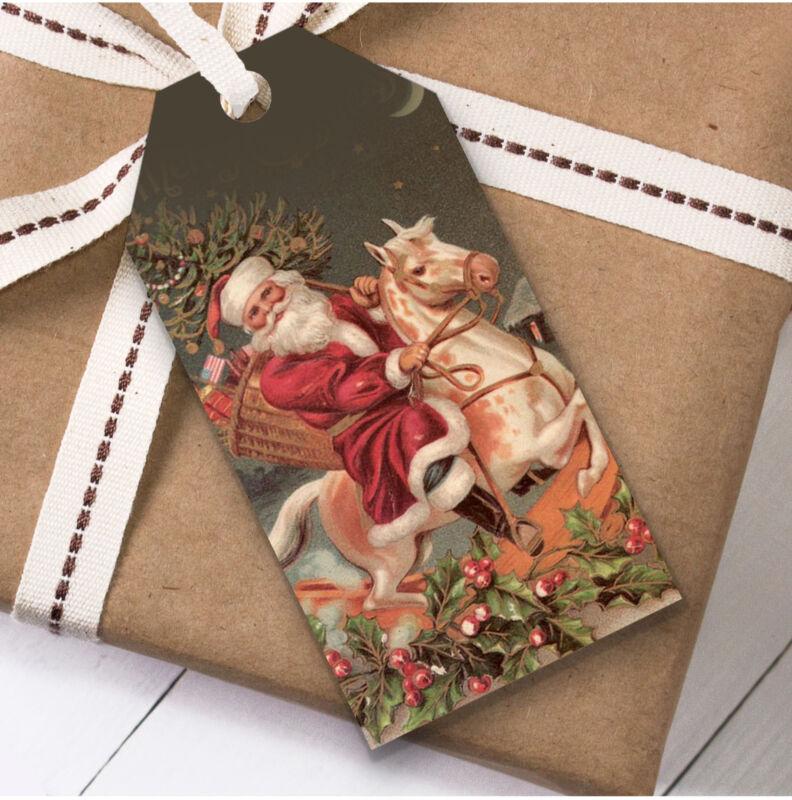 Vintage Traditional Santa Horse Christmas Gift Tags (Present Favor Labels)