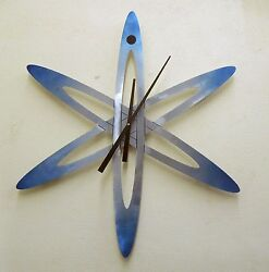 MODERN ART  BRUSHED ALUMINIUM CONTEMPORARY ATOM ASTRO WALL CLOCK  BY STONEYBROOK