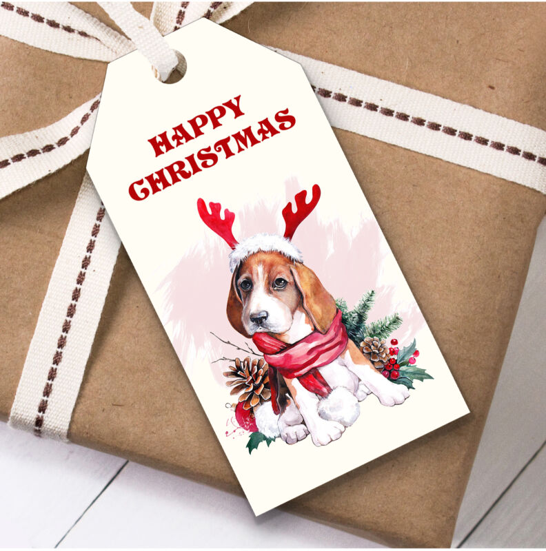 Cute Beagle Dog Christmas Gift Tags (Present Favor Labels)