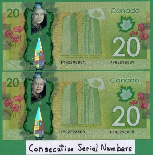 ***CONSECUTIVE***  2012 Canada 20 dollar Twenty Wilkins Poloz in Sequence