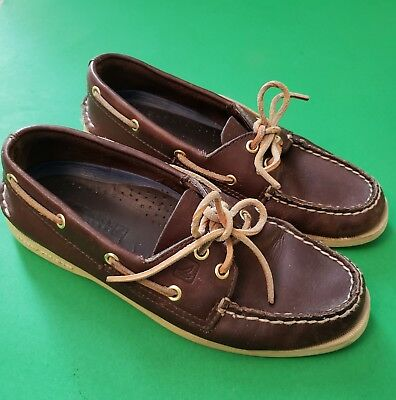 SPERRY TOP SIDER Boat Shoes  Leather Original 2 Eye Laces Mens Brown 6.5