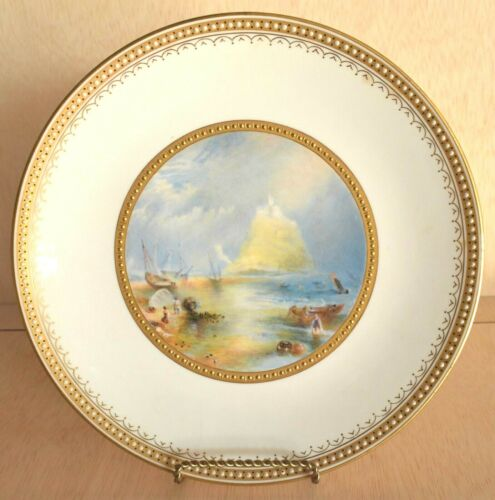 1876 Minton Porcelain Seascape Painted Reticulated Cabinet Plate Signed