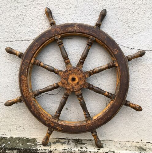 HUGE 4 ft Antique Ships 8 Spoke Ship Wheel Mariner Maritime Vintage Salvage Sea