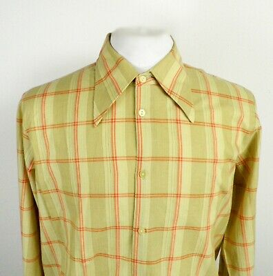 1970s Mens Shirt Styles – Vintage 70s Shirts for Guys 1970s Yellow and Orange Check Long Sleeve Dagger Collar Shirt Size L Retro Cool $28.19 AT vintagedancer.com