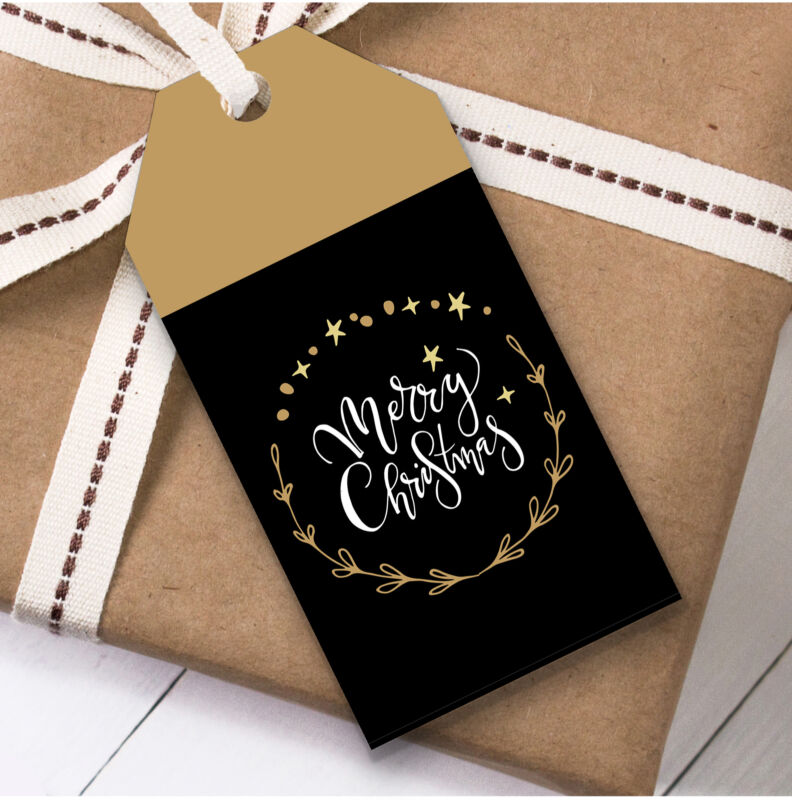 Black & Gold Ring Christmas Gift Tags (Present Favor Labels)