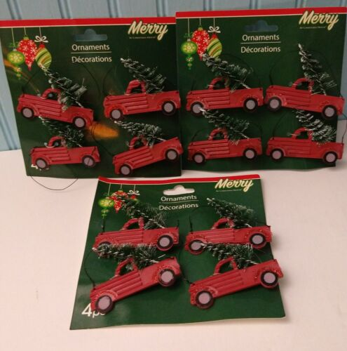 12 Red truck Decorations Gift tags, Tree Trimming, Wreaths Holiday Fun Ornaments