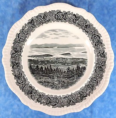 Vtg. Spode Plate BAR HARBOR FROM CADILLAC MTN, ACADIA PARK, MAINE- Sherman Co.