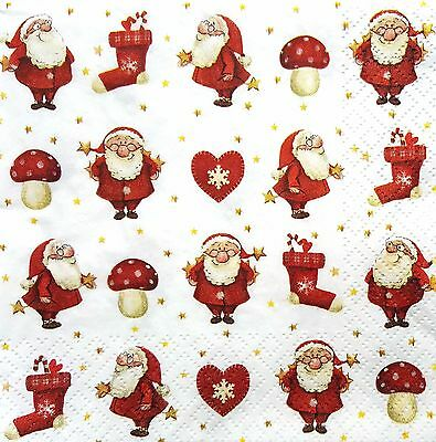 4 Single Lunch Paper Napkins for Decoupage Craft Santa Claus  Napkin / Art