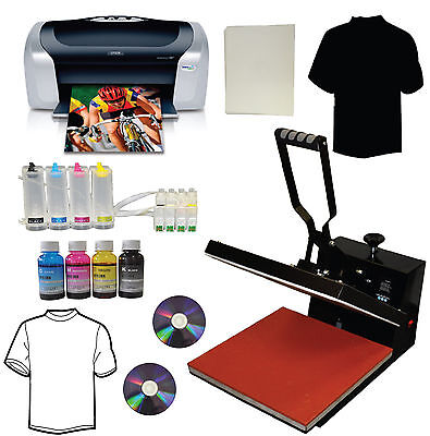 15x15 Heat Press,Printer,CISS,Bulk Ink,Heat Press Transfer Tshirt Start-up Bundl