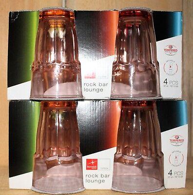 Bormioli Rocco Rock Bar Long Stackable Drink Glasses 12 oz Rose Pink Set of 8 Bormioli Rocco Rock Bar
