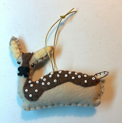 Dark Brown & Tan Felt Handmade Beaded Deer Ornament fawn Dark Brown Deer