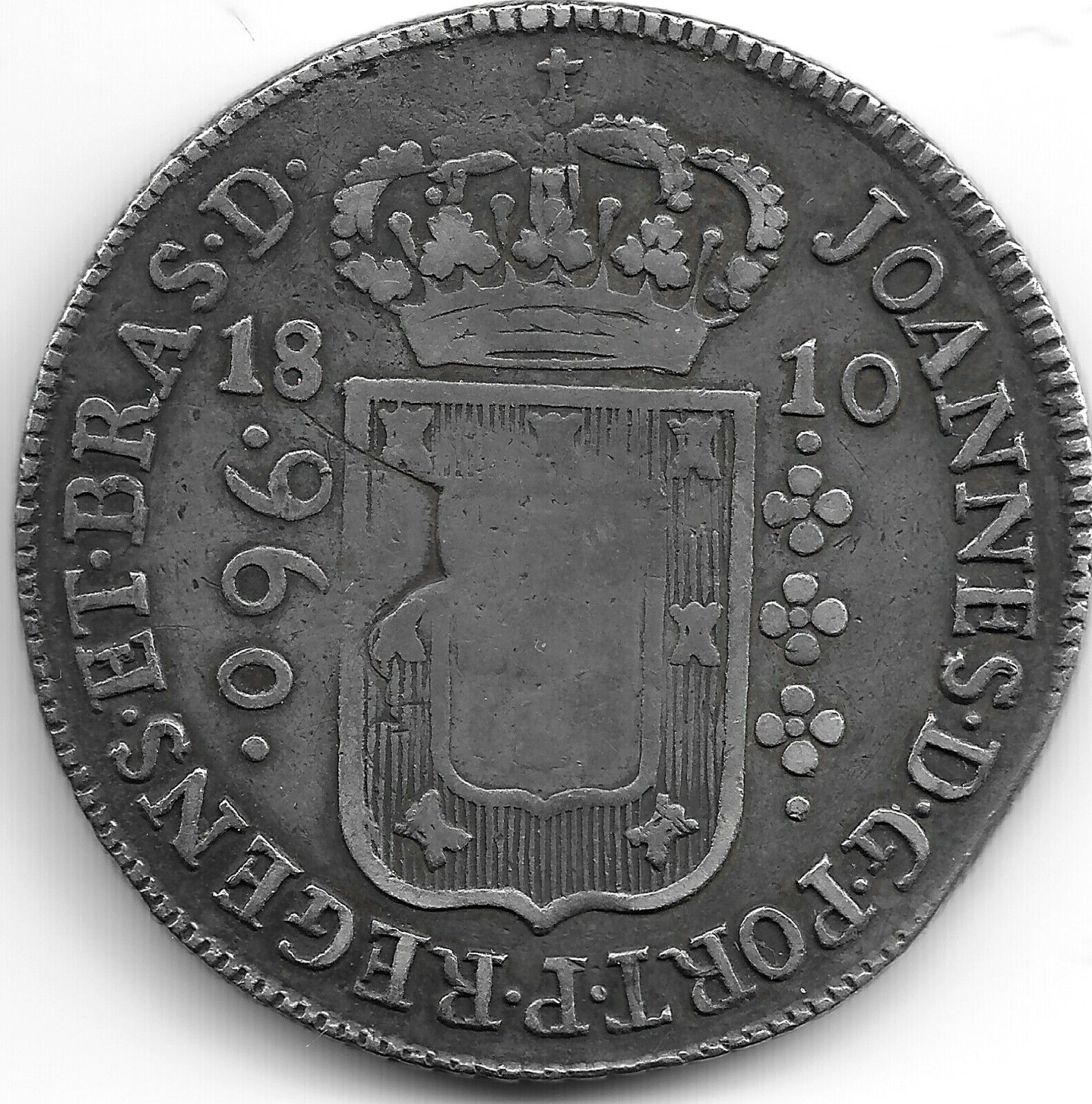 OVERSTRIKE Brazil 1810 Silver 960 Reis Coin Struck On Spanish Colonial 8 Reales - $110.00
