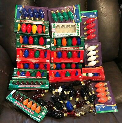 Vintage Huge Lot Christmas Tree Lights Bulbs C7 And C9 Mixed Colors In Box 120+