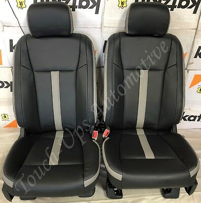Used, 2015-2018 Ford F-150 XLT SuperCrew KATZKIN Leather Seat Covers Black Gray SEMA for sale  Shipping to Canada