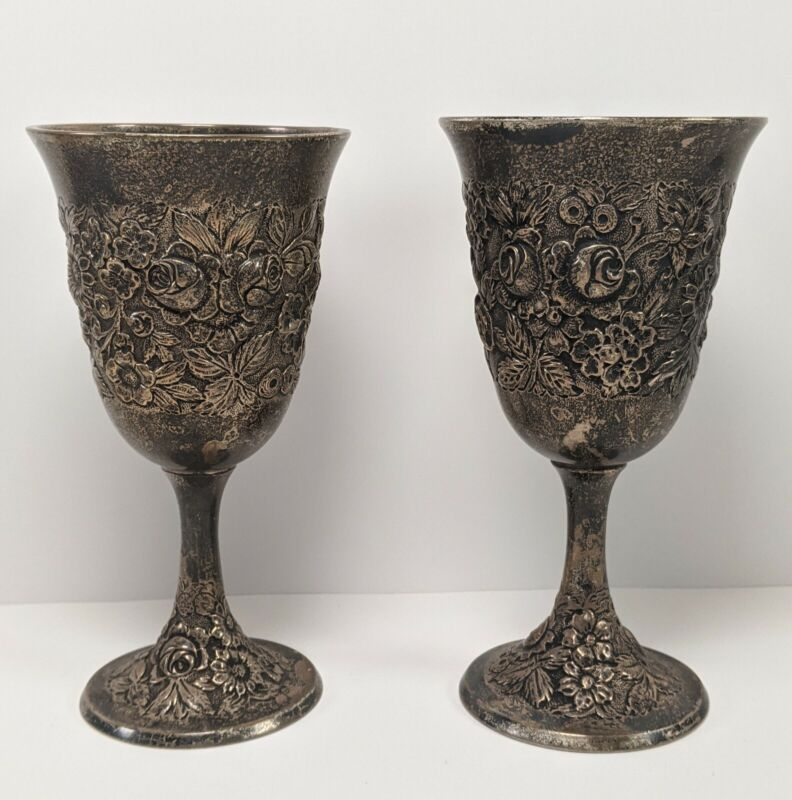 A. G. Schultz & Co Pair Of Sterling Hand Repousse Wine Goblets Heavy Tarnish
