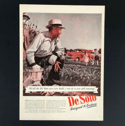 1944 De Soto Advertisement WW II Farmer Harvest War Car Vtg Print AD