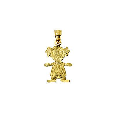 14K Real Yellow Gold Small It's A Girl Diamond Cut Charm Pendant Baby & - 14k Diamond Girl Charm