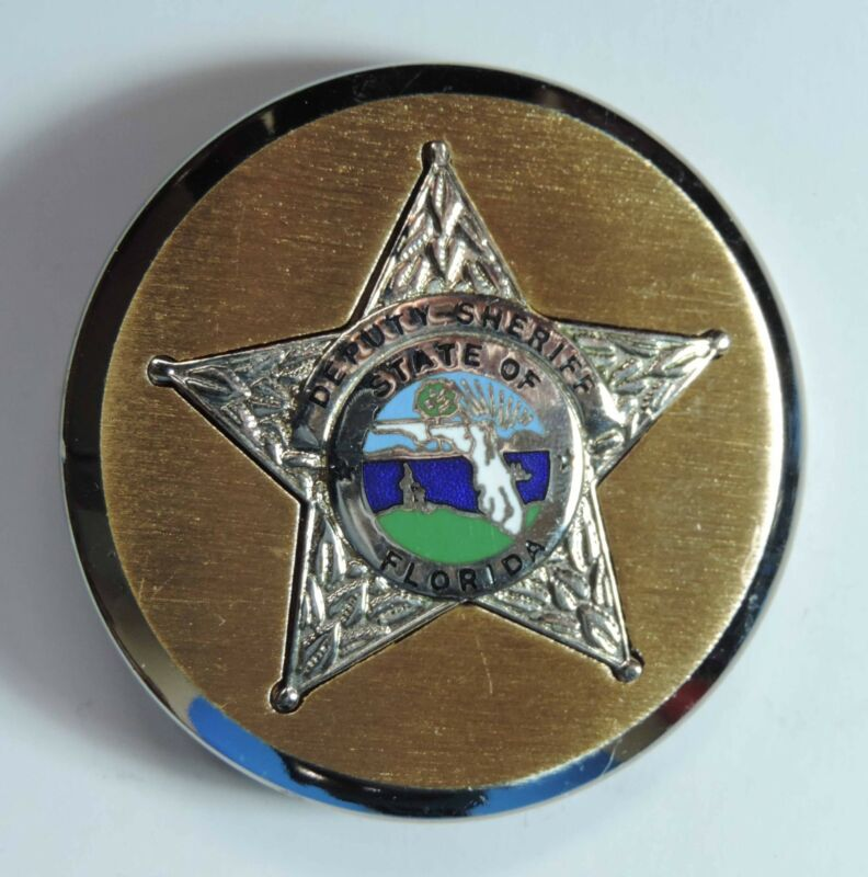 "State of Florida Deputy Sheriff Enamel Round 2.25"" Belt Buckle"