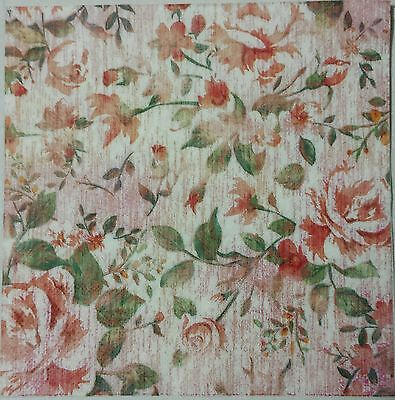 ROSE GARDEN TWO(2) single LUNCH SIZE  paper napkins for decoupage 3-ply
