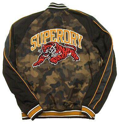 Superdry Men's Brown Camo Print Souvenir Baseball Varsity Bomber Jacket