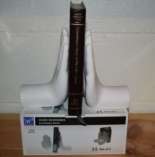 MILAN PACIFIC HUMAN HAND BOOKENDS - WHITE SET - MAKES GREAT OFFICE GIFT!
