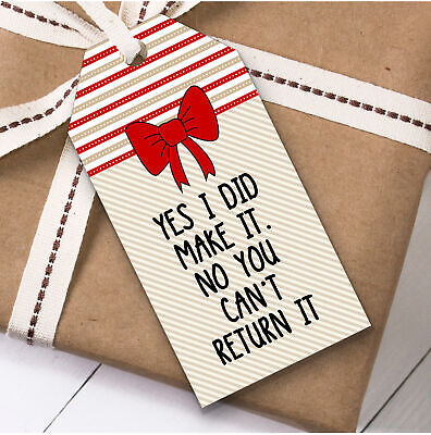 Funny Handmade Can't Return It Christmas Gift Tags (Present Favor Labels) ()